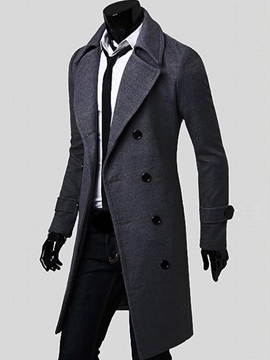 Ericdress Notched Lapel Double-Breasted Slim Men's Peacoat