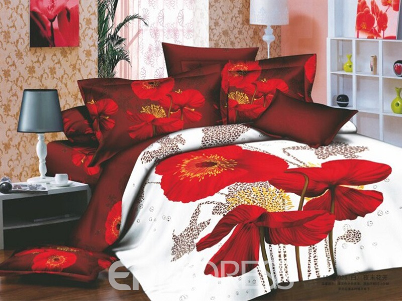 Seductive Red flowers Active Printing 4 Piece Cotton Bedding Sets