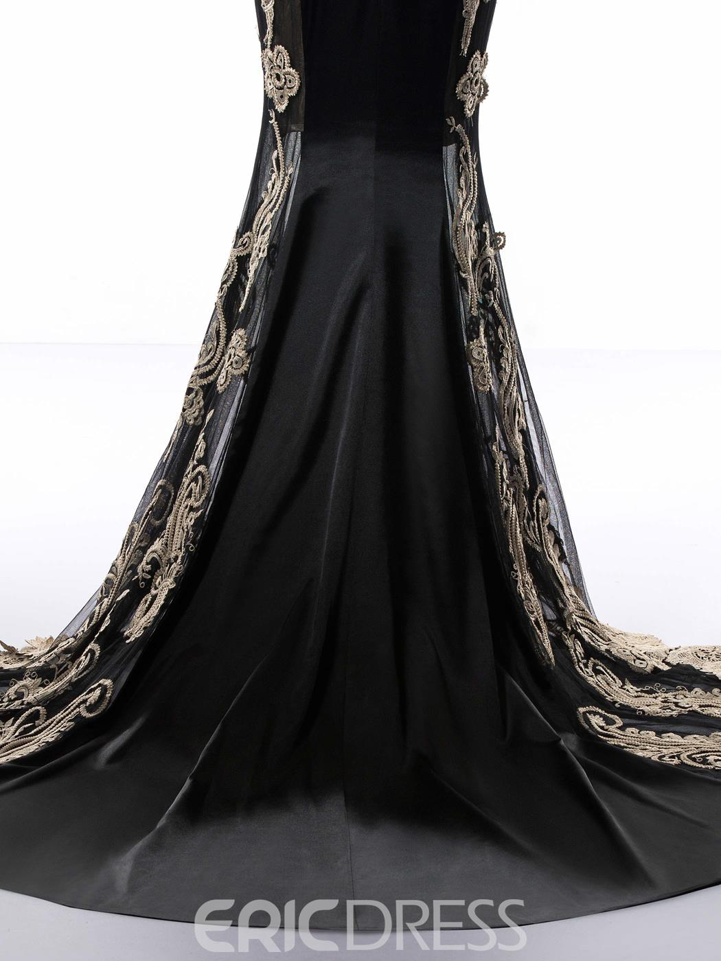 Ericdress Mermaid Long Sleeves Appliques Lace-Up Evening Dress