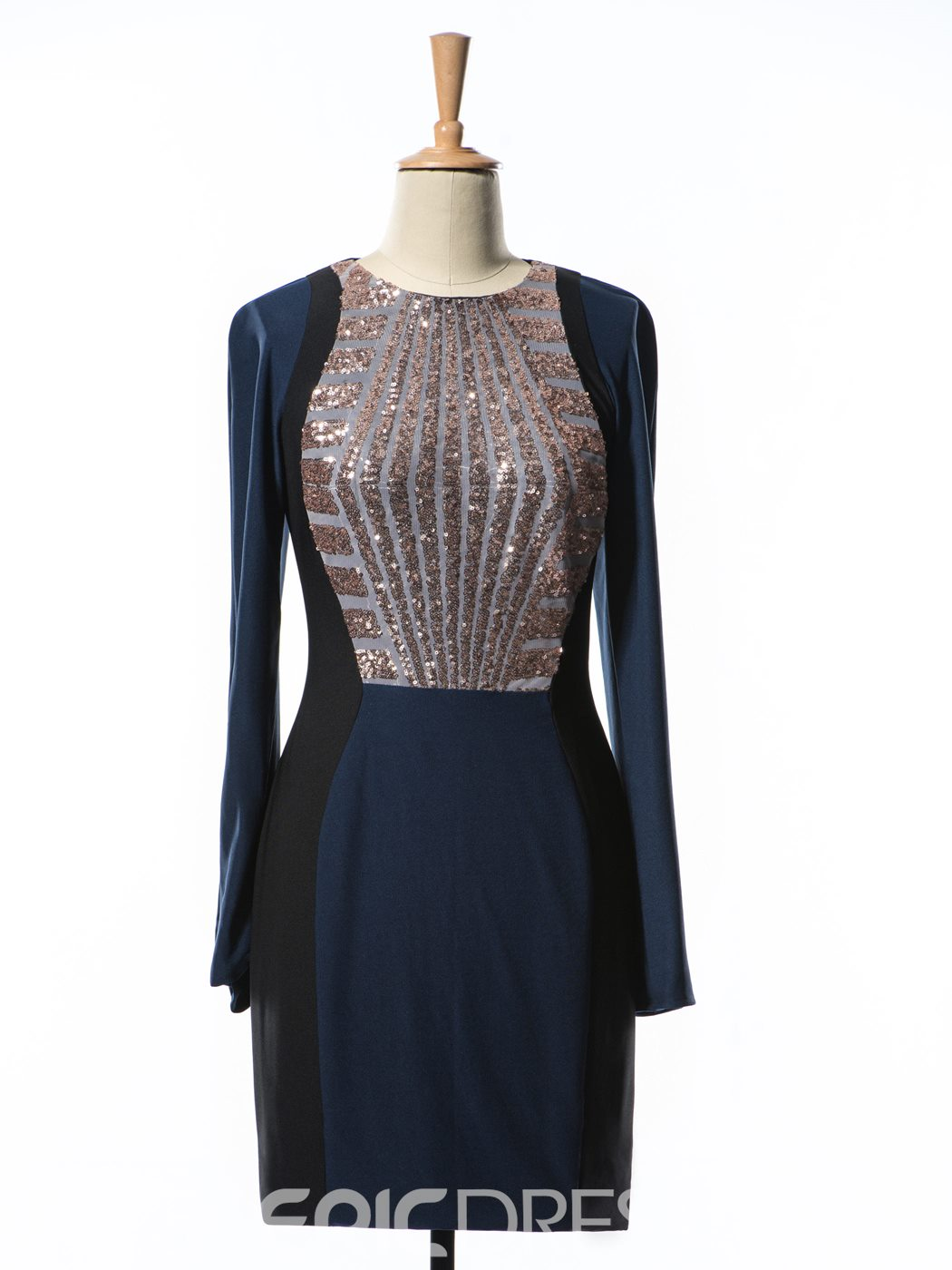 Ericdress Sheath Sequins Long Sleeves Cocktail Dress