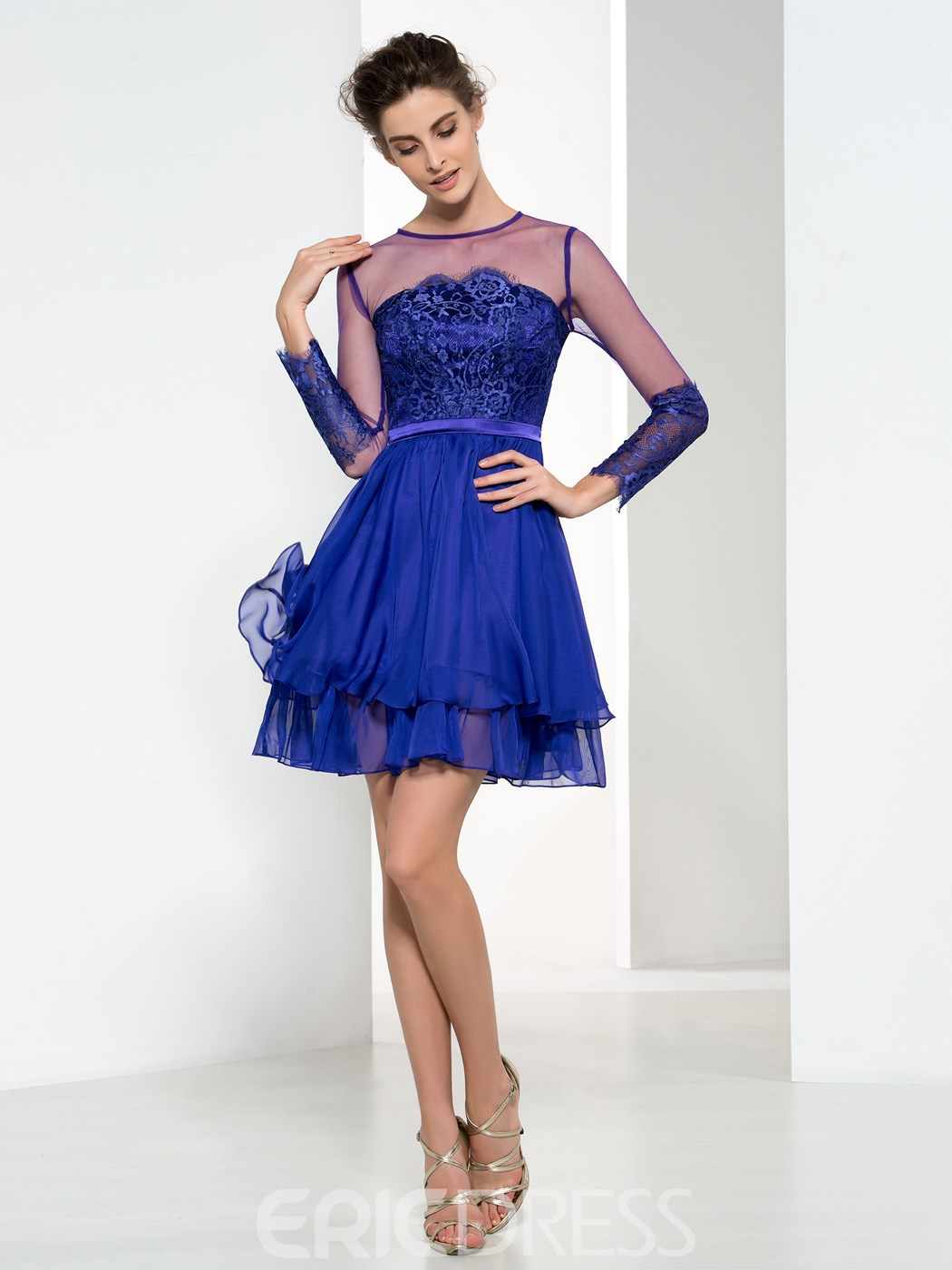 Ericdress A-Line Long Sleeves Lace Cocktail Dress