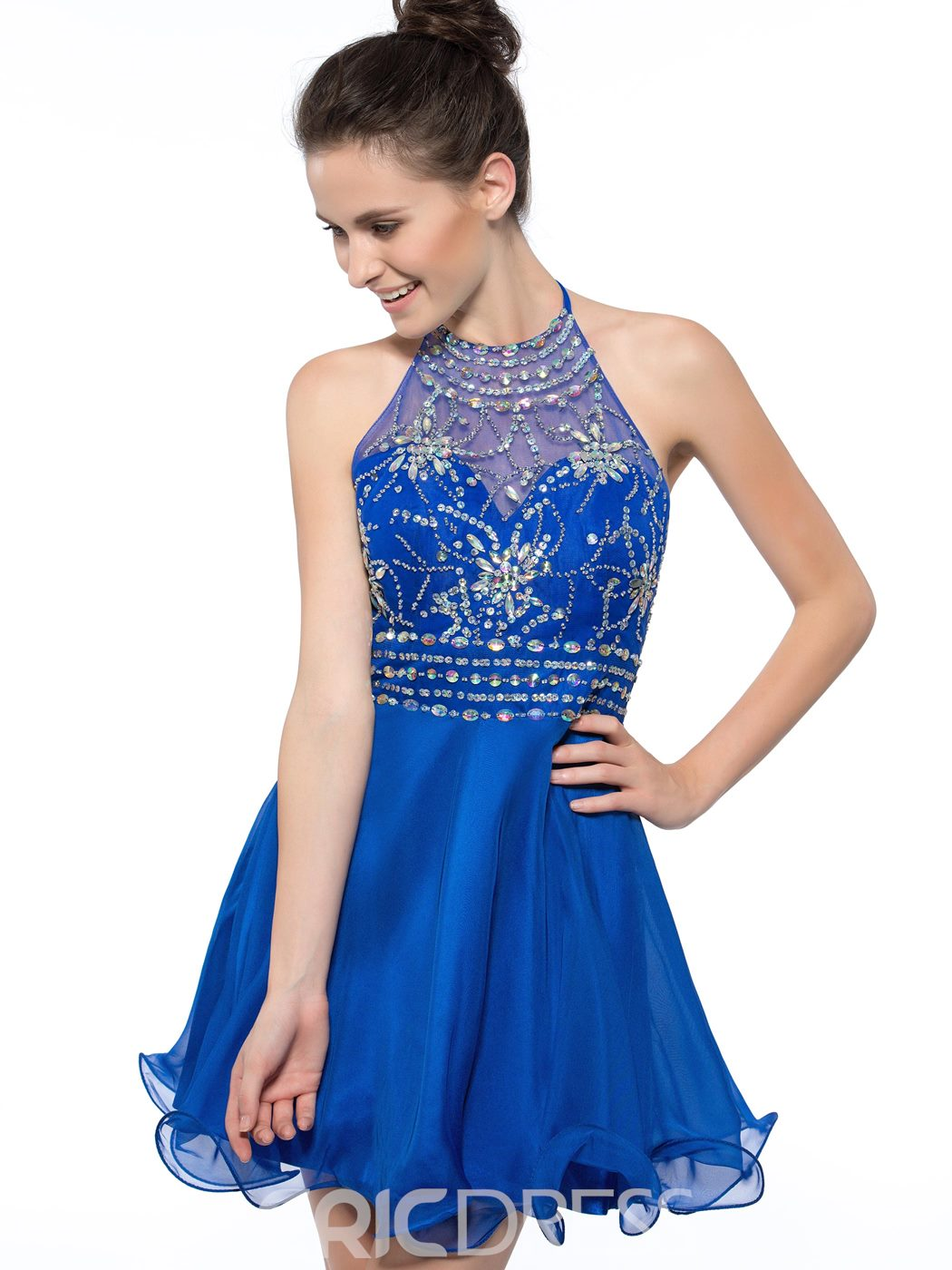 Ericdress Halter Beading Sequins Backless Cocktail Dress