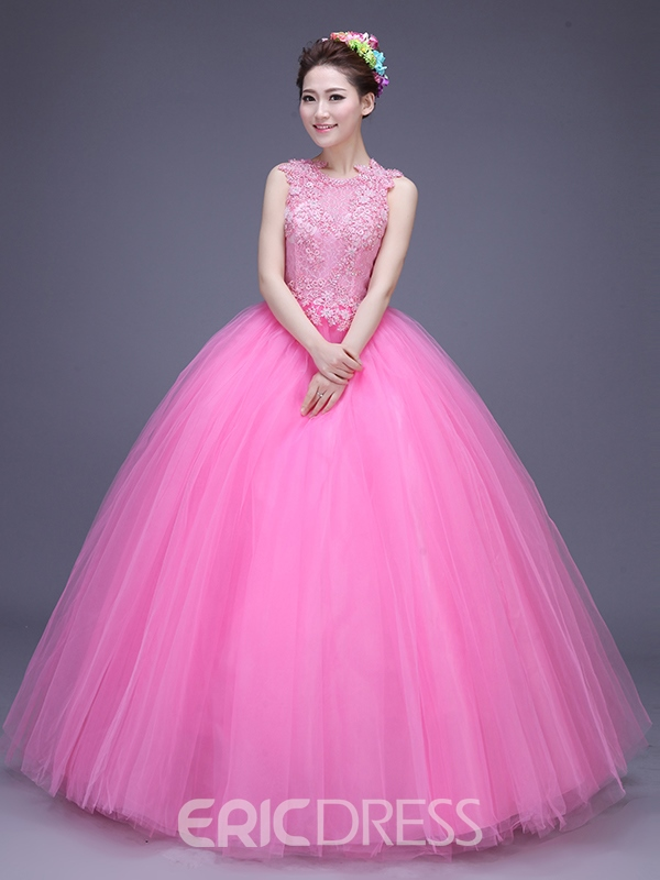 Ericdress Scoop Neck Appliques Beading Flowers Quinceanera Dress
