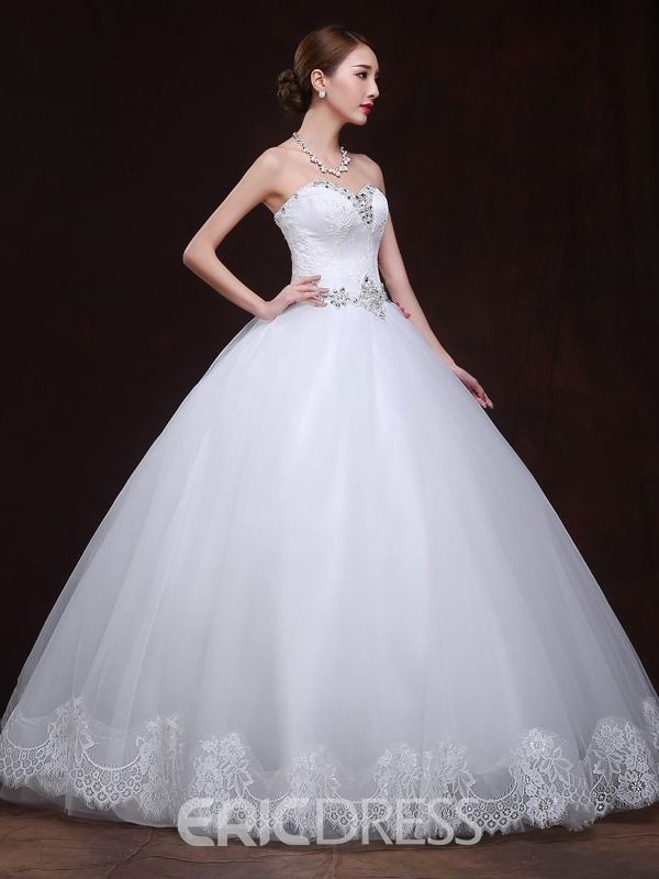 Ericdress Charming Sweetheart Beadings Appliques Lace Ball Gown Wedding Dress