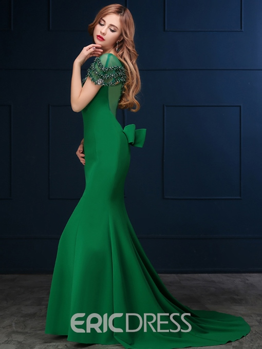Ericdress Mermaid Beading Bowknot Court Train Evening Dress