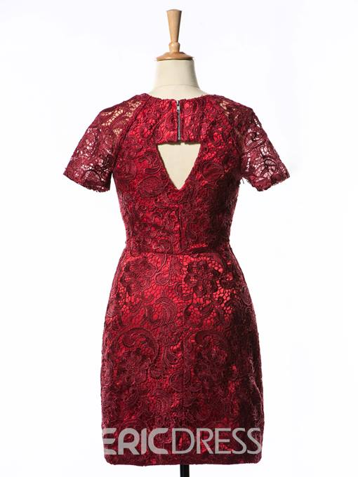 Graceful Lace Short Sleeves Short/Mini Length Sheath Cocktail Dress