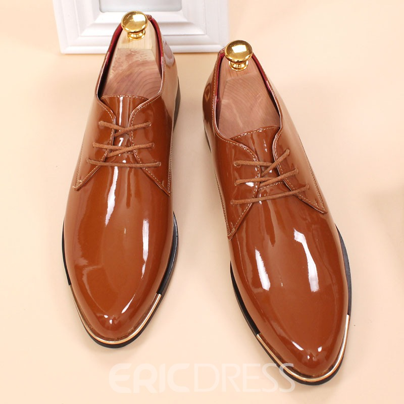 Ericdress Patent Leather Point Toe Lace up Men's Oxfords