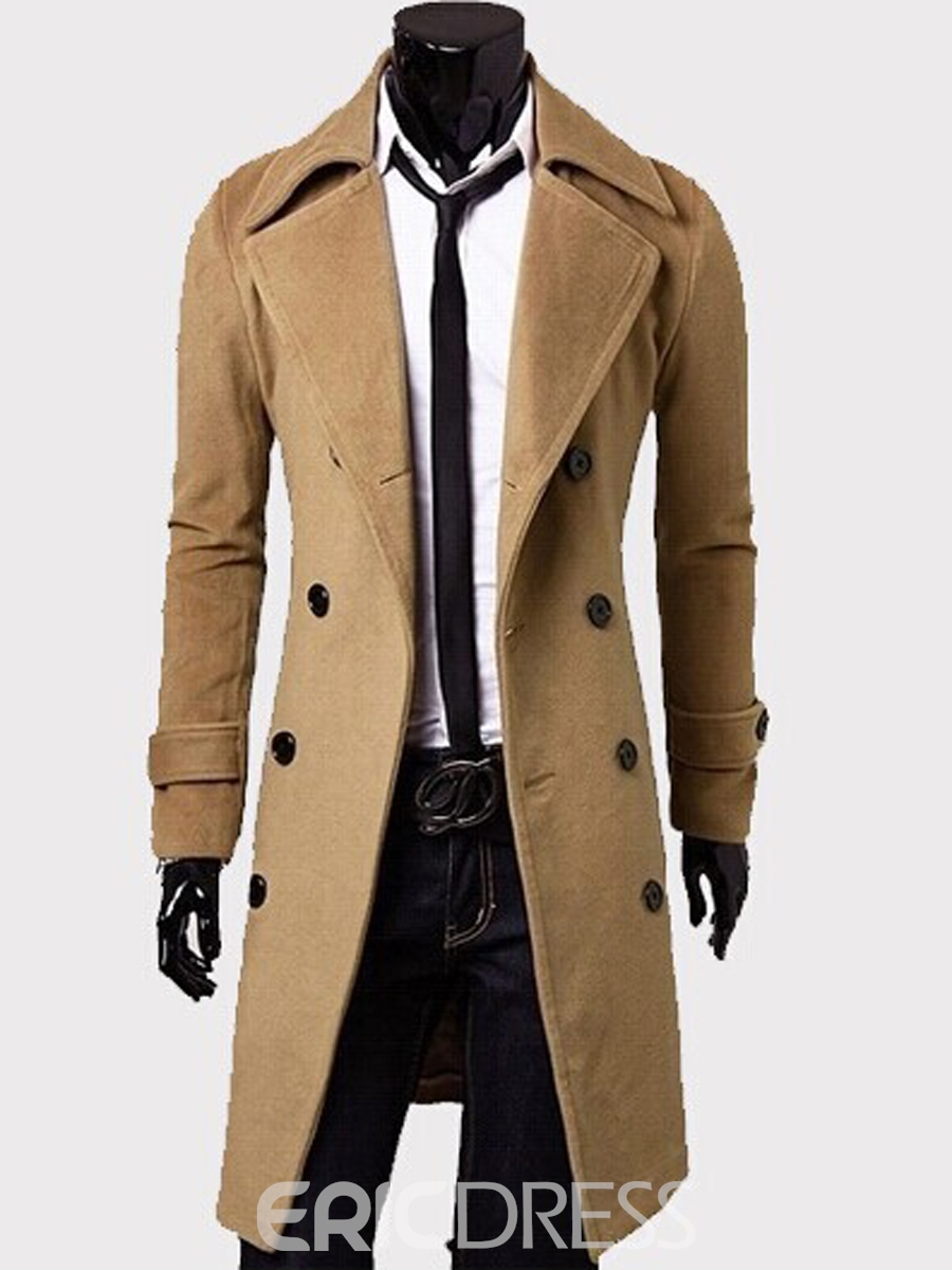 Ericdress Plain Double-Breasted Mid-Length Slim Men's Coat
