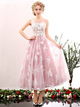 Ericdress Sweet Lace Beading Sleeveless A-line Ankle Length Prom Dress