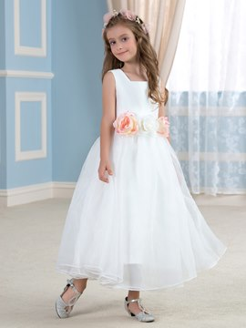 Ericdress Classic Square Neck A Line Flower Girl Dress