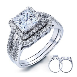 Ericdress 3 Karat Zircon Silver Couple Ring