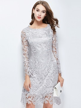 Ericdress Knee-Length Sheath Lace Cocktail Dress 2019