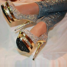 Luxurious Rhinestone Platform Stiletto Heels