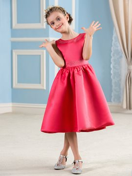 Ericdress Beautiful Jewel Tea Length A Line Flower Girl Party Dress