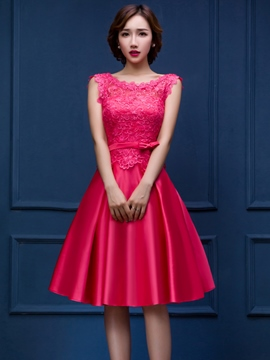 Ericdress Cap Sleeves Appliques Bowknot Cocktail Dress