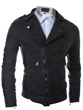 Ericdress Oblique Zip Slim Denim Men's Jacket
