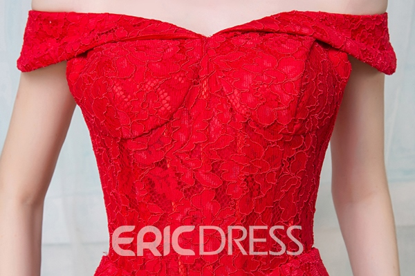 Ericdress A-Line Off-The-Shoulder Tea-Length Lace Cocktail Party Dress