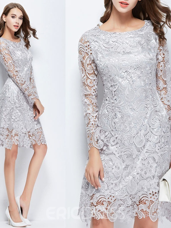 Ericdress Knee-Length Lace Cocktail Dress 2019