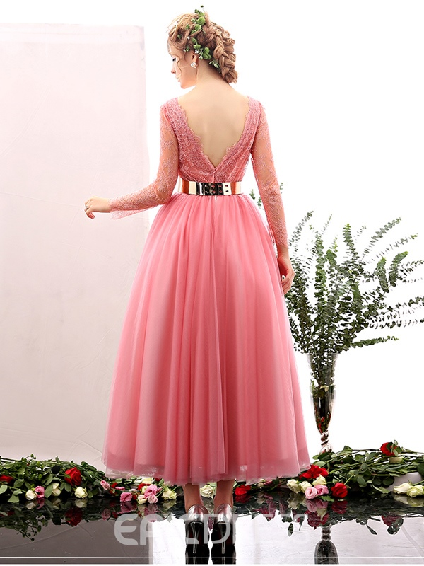 Ericdress Lovely A Line Long Sleeves Lace Tea Length Prom Dress
