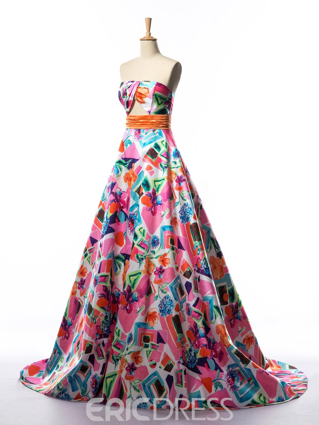 Ericdress A-Line Strapless Hollow Print Prom Dress