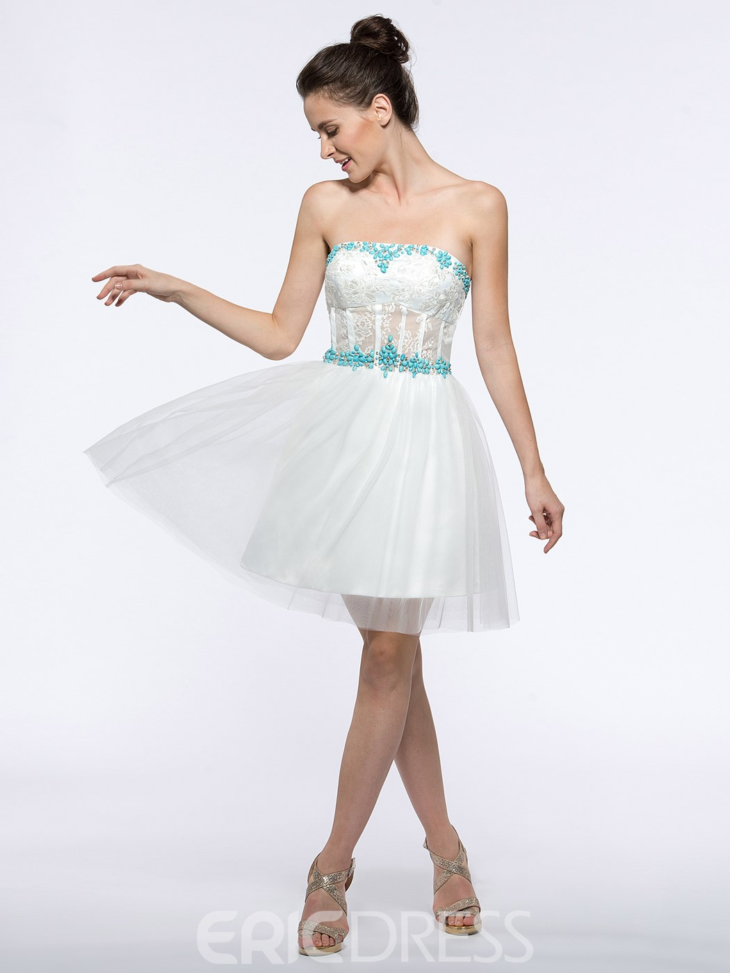 Ericdress Sweetheart Appliques Beading Lace Homecoming Dress