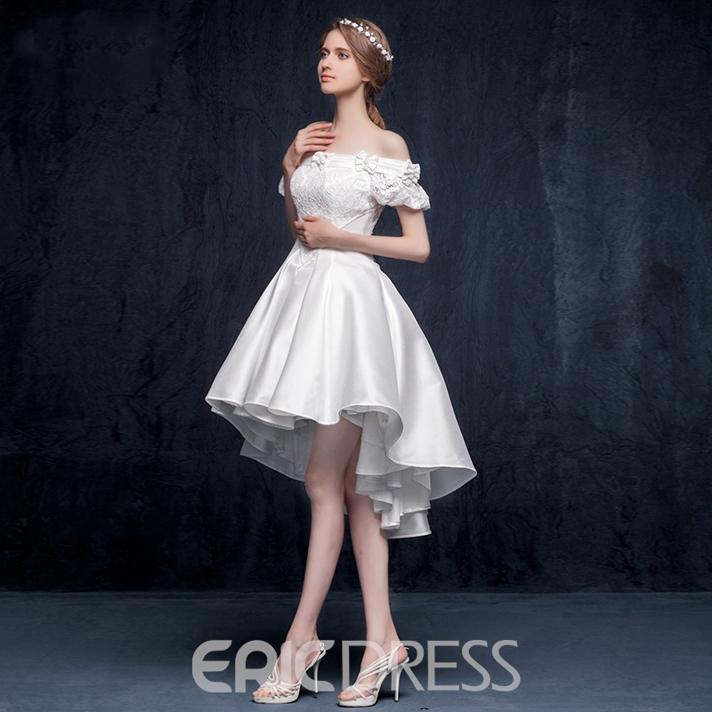 Ericdress Off Shoulders Lace Bowknot Short Sleeves Asymmetrical Cocktail Dress
