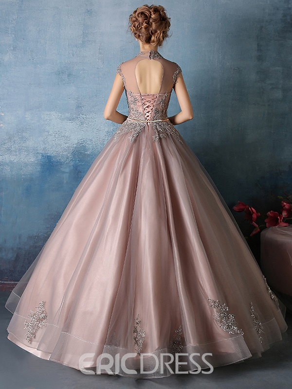 Ericdress Ball Gown High Neck Sashes Appliques Quinceanera Dress
