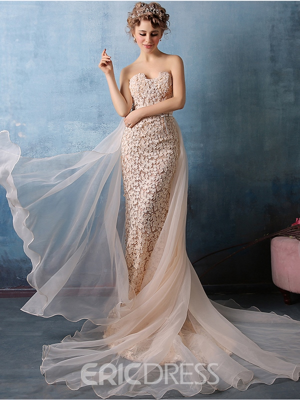 Ericdress Glamorous Sweetheart Neck Sleeveless Floor Length Lace Evening Dress