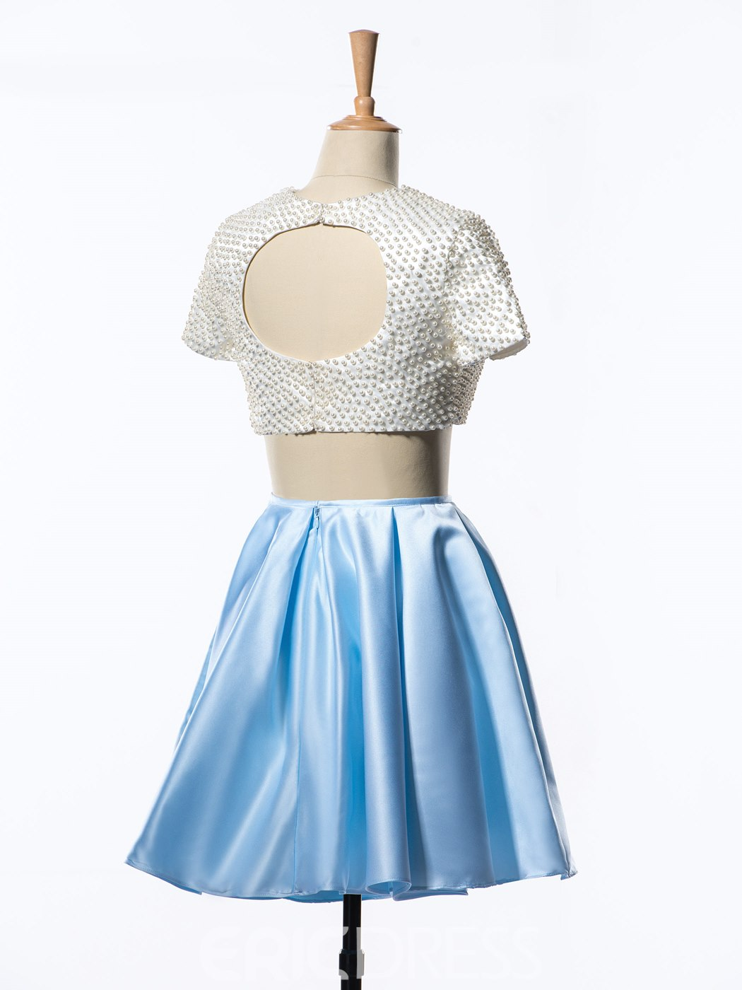 Ericdress Pearl Open Back Two-Piece Homecoming Dress