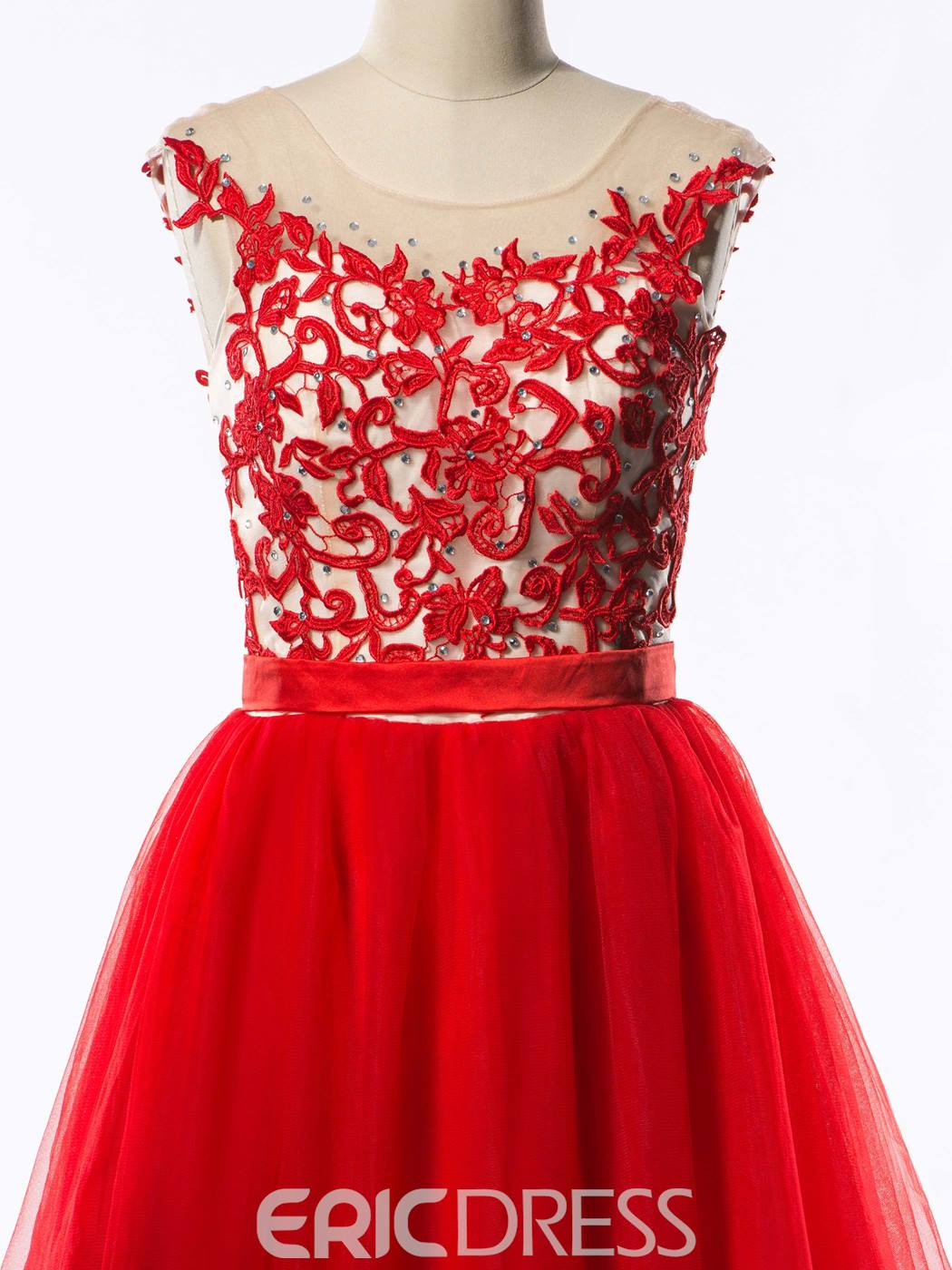 Ericdress Jewel-Neck Appliques Short Homecoming Dress