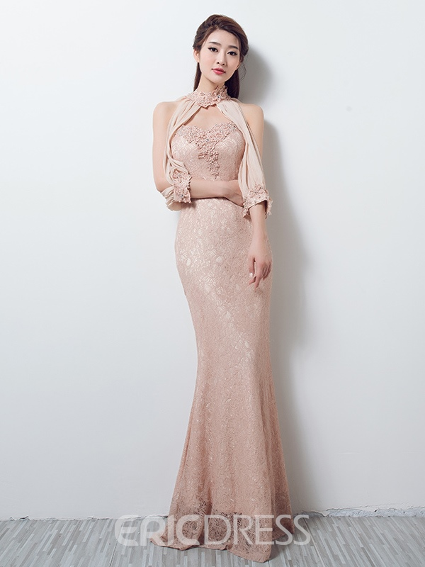 Ericdress Mermaid High-Neck Appliques Beading Evening Dress