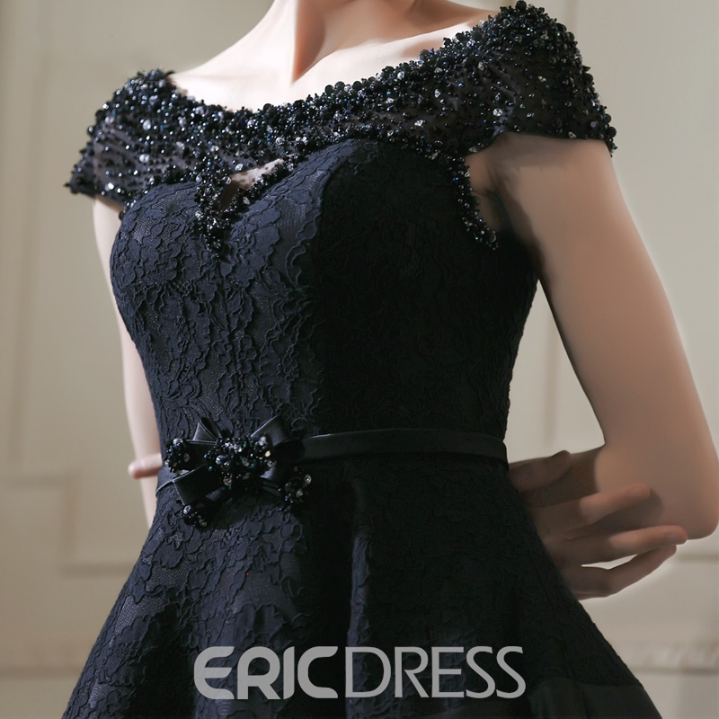 Ericdress Cap Sleeves Beading Bowknot Lace Knee-Length A-Line Cocktail Dress