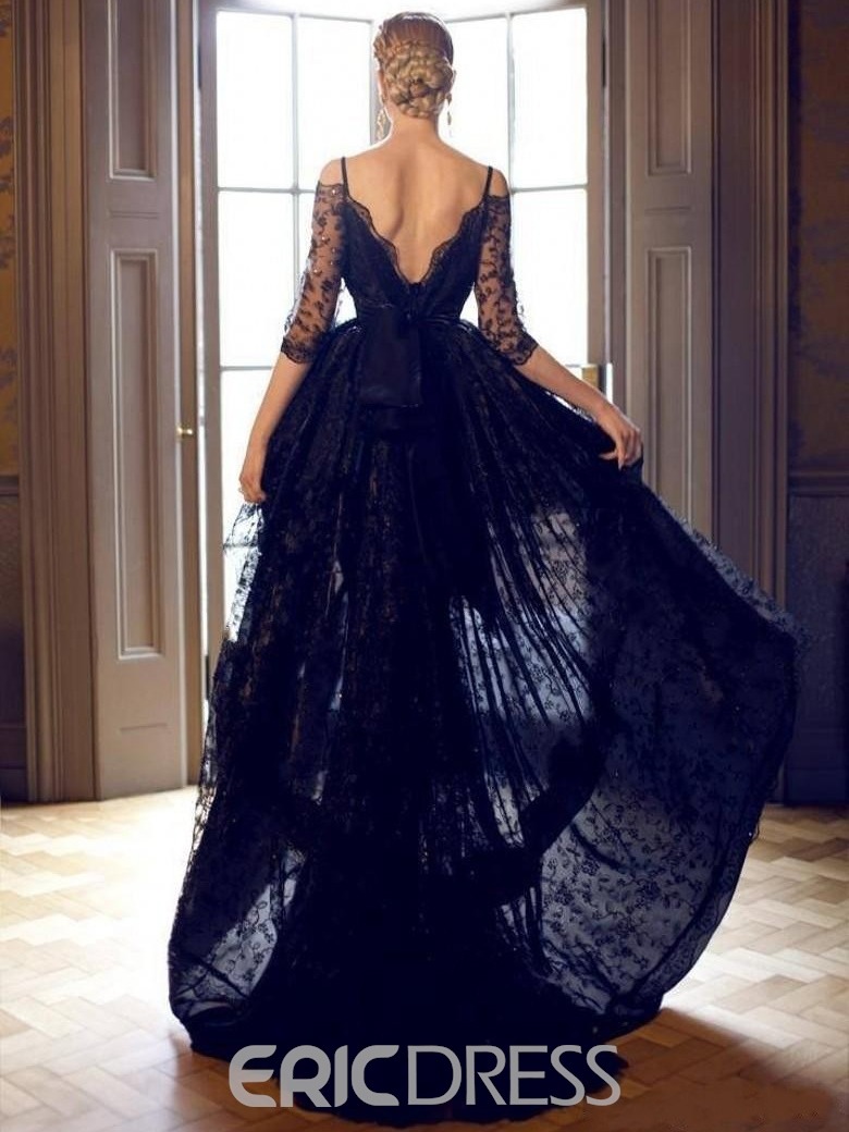Ericdress Spaghetti Straps Half Sleeves Lace High Low Evening Dress