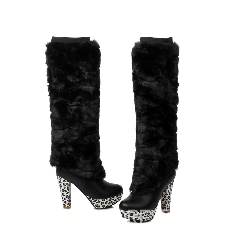 Ericdress Leopard Patchwork Knee High Boots