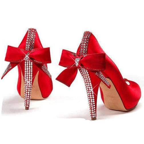 Ericdress Red Rhinestone Slip-On Stiletto Heel Prom Shoes