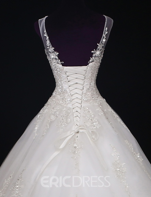 Ericdress Appliques Beading Lace-Up Wedding Dress
