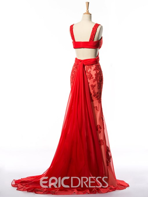 Ericdress Two Piece Appliques Criss-Cross Straps Front Prom Dress