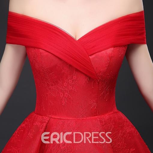 Ericdress Off the Shoulder Tiered Ruffles Lace Evening Dress
