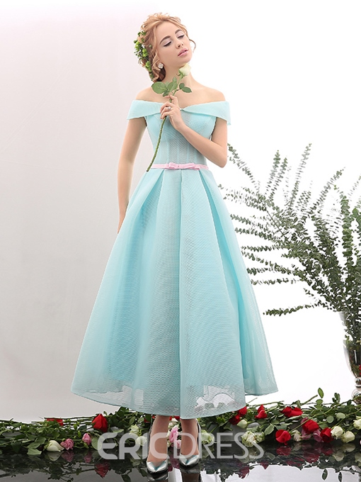 Ericdress Off Shoulder Short Sleeves Bowknot A-line Ankle Length Prom Dress