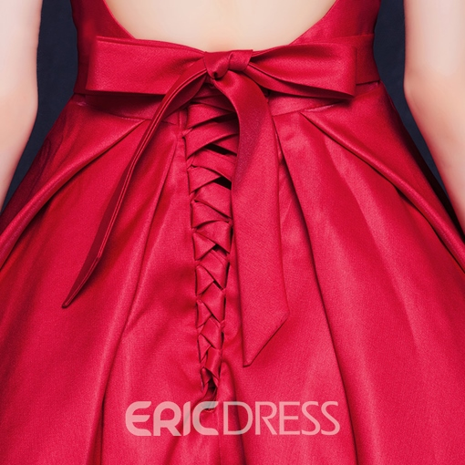Ericdress Charming Pleats Lace-Up Bowknot Cocktail Dress In Tea Length