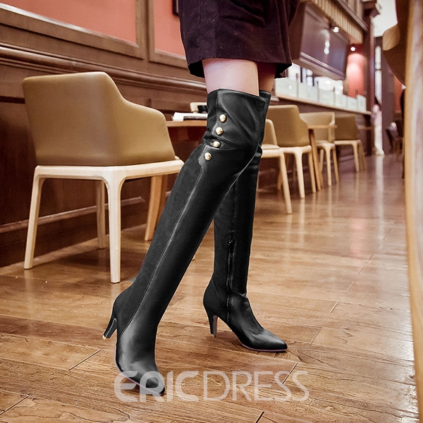 Ericdress Patchwork Point Toe Knee High Boots