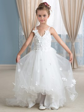Ericdress Charmig Spaghetti Straps Asymmetry Flower Girl Dress