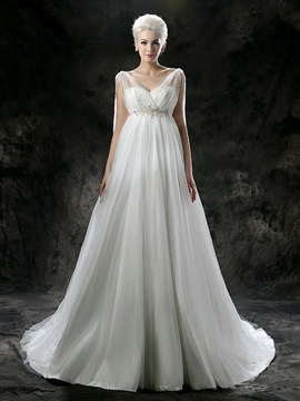 Ericdress Sleeveless Floor-Length Chapel A-Line Garden/Outdoor Wedding Dress