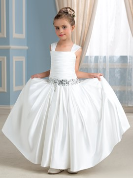 Ericdress Straps Beading Bowknot Flower Girl Dress