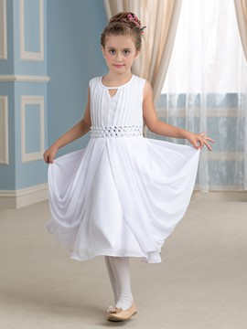 Ericdress Comfortable Jewel Chiffon Flower Girl Dress