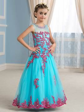 Ericdress Charming Scoop Appliques Floor Length Flower Girl Dress