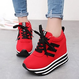 Ericdress Color Block Platform Lace-Up Women's Sneakers