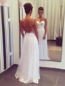 Ericdress Casual Spaghetti Straps A Line Backless Beach Wedding Dress