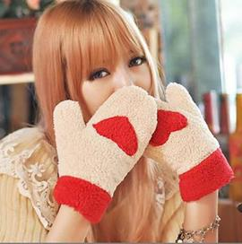 Ericdress Cute Heart Thicken Warm Gloves