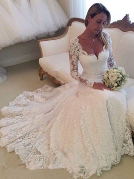 Ericdress Charming Appliques V Neck Long Sleeves Wedding Dress